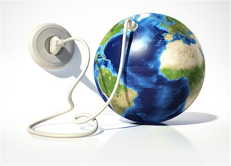 Earth with an electrical socket, computer artwork. Stock Photo - Premium Royalty-Free, Code: 679-07846191