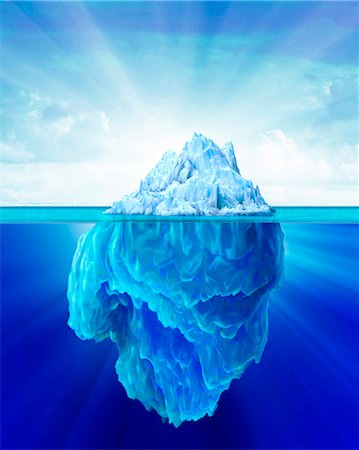 Tip of an iceberg, computer artwork. Stock Photo - Premium Royalty-Free, Code: 679-07846232