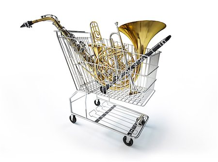 Supermarket shopping trolley filled with musical instruments, computer artwork. Stock Photo - Premium Royalty-Free, Code: 679-07846240