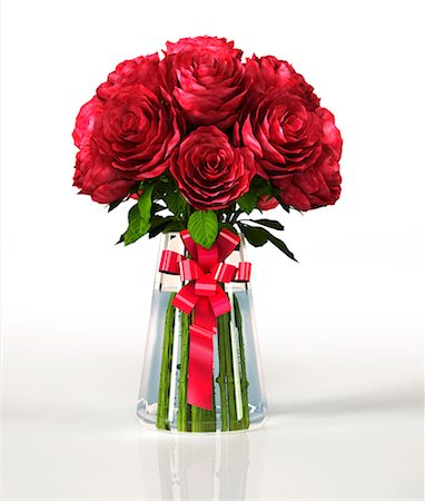 flower illustration - Red roses in a vase, computer artwork. Stock Photo - Premium Royalty-Free, Code: 679-07846256