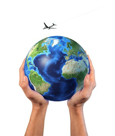 Person holding the globe in hands with aeroplane flying over, computer artwork. Stock Photo - Premium Royalty-Free, Code: 679-07846299