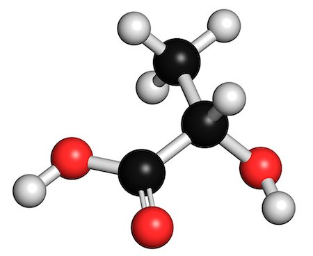 plasma - Lactic acid (L-lactic acid) milk sugar molecule. Building block of polylactic acid (PLA) bioplastic. Found in milk. Atoms are represented as spheres with conventional colour coding: hydrogen (white), carbon (grey), oxygen (red). Stock Photo - Premium Royalty-Free, Code: 679-07846426