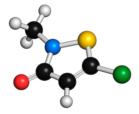 formula - Methylchloroisothiazolinone preservative molecule, chemical structure. Often used in water-based products, e.g. cosmetics. Atoms are represented as spheres with conventional colour coding: hydrogen (white), carbon (grey), nitrogen (blue), sulfur (yellow), chlorine (green). Stock Photo - Premium Royalty-Free, Code: 679-07846430