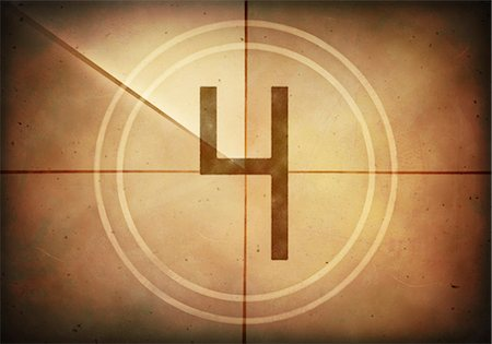 Vintage movie countdown displaying the number 4, computer illustration. Stock Photo - Premium Royalty-Free, Code: 679-07962035
