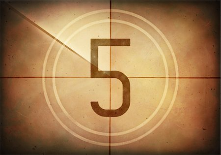 Vintage movie countdown displaying the number 5, computer illustration. Stock Photo - Premium Royalty-Free, Code: 679-07962036
