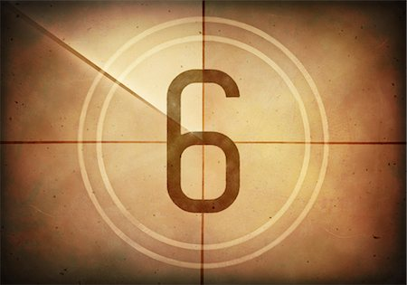 Vintage movie countdown displaying the number 6, computer illustration. Stock Photo - Premium Royalty-Free, Code: 679-07962037