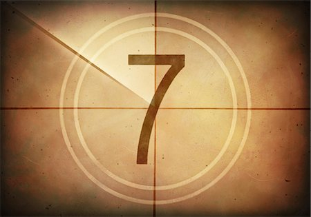Vintage movie countdown displaying the number 7, computer illustration. Stock Photo - Premium Royalty-Free, Code: 679-07962038