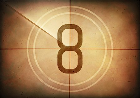 Vintage movie countdown displaying the number 8, computer illustration. Stock Photo - Premium Royalty-Free, Code: 679-07962039