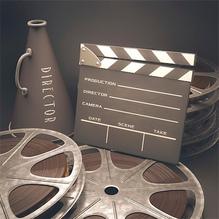 film strip - Old fashioned movie reel, megaphone and clapperboard, computer illustration. Stock Photo - Premium Royalty-Free, Code: 679-07962044