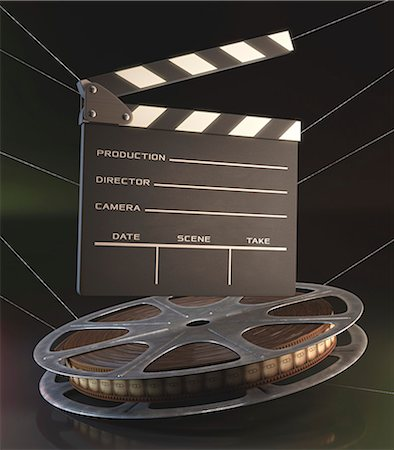film strip - Old fashioned movie reel and clapperboard, computer illustration. Stock Photo - Premium Royalty-Free, Code: 679-07962045
