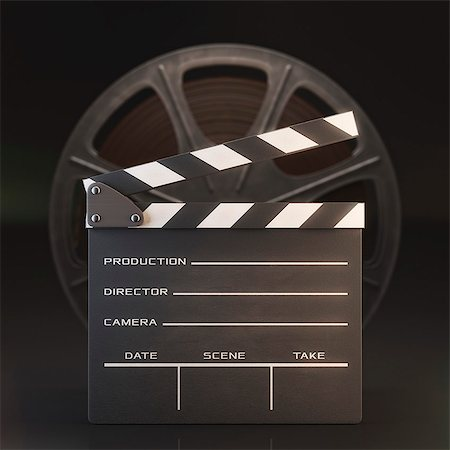 slate - Old fashioned movie reel and clapperboard, computer illustration. Stock Photo - Premium Royalty-Free, Code: 679-07962046
