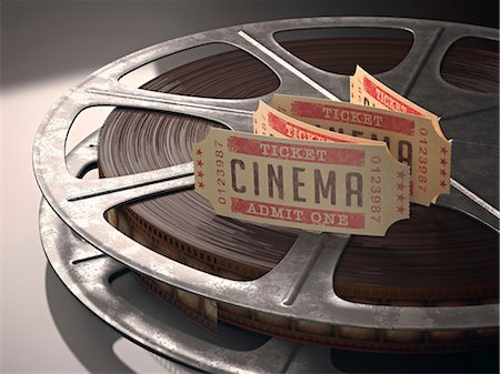 film strip - Cinema tickets and a movie reel, computer illustration. Stock Photo - Premium Royalty-Free, Code: 679-07962049