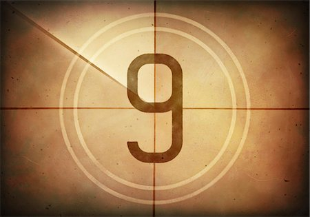 Vintage movie countdown displaying the number 9, computer illustration. Stock Photo - Premium Royalty-Free, Code: 679-07962040