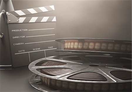 film strip - Old fashioned movie reel and clapperboard, computer illustration. Stock Photo - Premium Royalty-Free, Code: 679-07962042