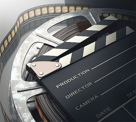 film strip - Old fashioned movie reel and clapperboard, computer illustration. Stock Photo - Premium Royalty-Free, Code: 679-07962043