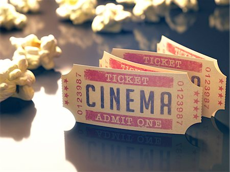 entertainment - Cinema tickets and popcorn, computer illustration. Stock Photo - Premium Royalty-Free, Code: 679-07962050