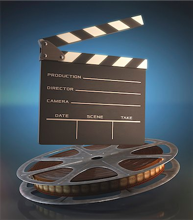 film strip - Old fashioned movie reel and clapperboard, computer illustration. Stock Photo - Premium Royalty-Free, Code: 679-07962051