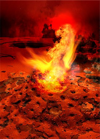 fire - Planet with rocks and flames, computer illustration. Stock Photo - Premium Royalty-Free, Code: 679-07962067