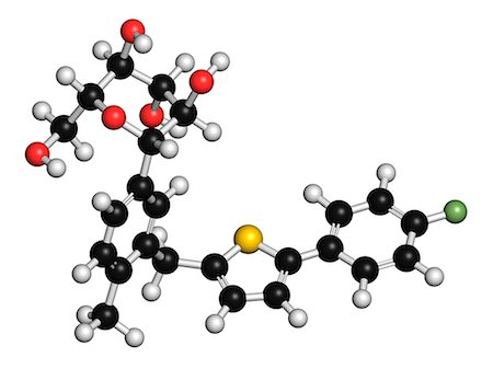 plasma - Canagliflozin diabetes drug molecule. SGLT2 inhibitor used in treatment of type II diabetes. Atoms are represented as spheres with conventional color coding: hydrogen (white), carbon (black), oxygen (red), sulfur (yellow), fluorine (light green). Stock Photo - Premium Royalty-Free, Code: 679-08009875