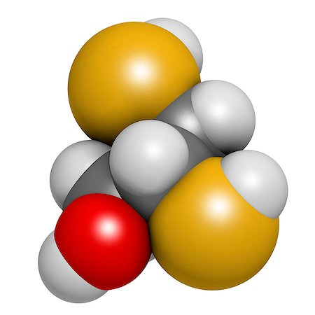 poison - Dimercaprol (BAL, British Anti-Lewisite) metal poisoning antidote molecule. Atoms are represented as spheres with conventional color coding: hydrogen (white), carbon (grey), oxygen (red), sulfur (yellow). Stock Photo - Premium Royalty-Free, Code: 679-08009870