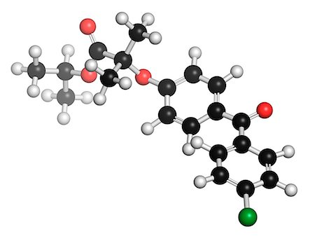 plasma - Fenofibrate cholesterol lowering drug (fibrate class), chemical structure. Atoms are represented as spheres with conventional color coding: hydrogen (white), carbon (black), oxygen (red), chlorine (green). Stock Photo - Premium Royalty-Free, Code: 679-08009897