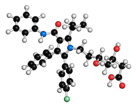 plasma - Atorvastatin cholesterol lowering drug (statin class), chemical structure. Atoms are represented as spheres with conventional color coding: hydrogen (white), carbon (black), oxygen (red), nitrogen (blue), fluorine (light green) Stock Photo - Premium Royalty-Free, Code: 679-08009911