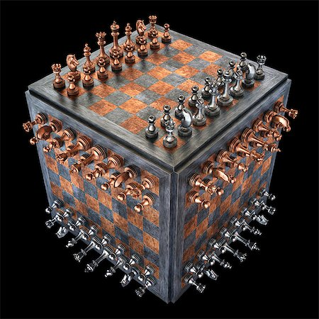 strategy - Chess board in a cube shape, illustration Stock Photo - Premium Royalty-Free, Code: 679-08026858