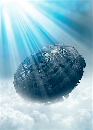 spaceship - UFO in the cloud, illustration Stock Photo - Premium Royalty-Free, Code: 679-08026946
