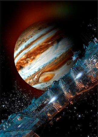 space - Spacecraft in Jupiter orbit, illustration Stock Photo - Premium Royalty-Free, Code: 679-08026949