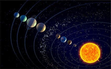 The solar system, illustration Stock Photo - Premium Royalty-Free, Code: 679-08027015