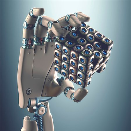 Robotic hand holding cube, illustration Stock Photo - Premium Royalty-Free, Code: 679-08027018