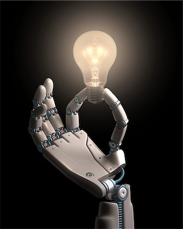 Robotic hand holding a light bulb Stock Photo - Premium Royalty-Free, Code: 679-08027036