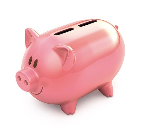 Piggy bank with two slots, illustration Stock Photo - Premium Royalty-Free, Code: 679-08027045