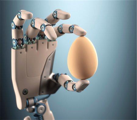 Robotic hand holding egg, illustration Stock Photo - Premium Royalty-Free, Code: 679-08027048