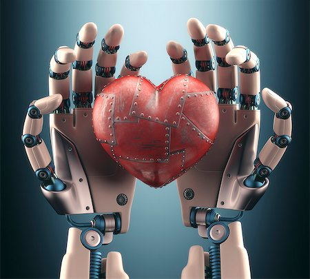 Robotic hands holding heart, illustration Stock Photo - Premium Royalty-Free, Code: 679-08031718