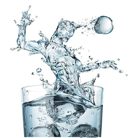 Glass of water and splashes, illustration Stock Photo - Premium Royalty-Free, Code: 679-08031723