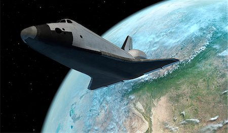 space - Space shuttle above the Earth, computer illustration. Stock Photo - Premium Royalty-Free, Code: 679-08121762