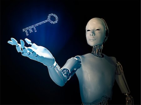 Robot holding a binary code key, computer illustration. Stock Photo - Premium Royalty-Free, Code: 679-08121807