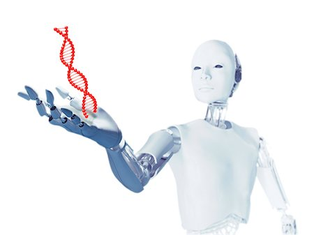 Robot holding a DNA (deoxyribonucleic acid) molecule, computer illustration. Stock Photo - Premium Royalty-Free, Code: 679-08121808