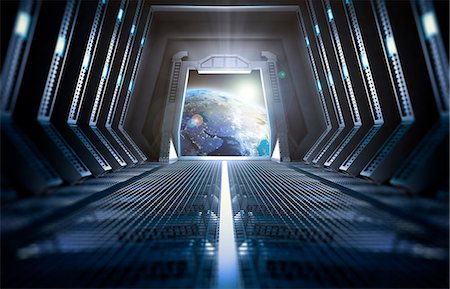 spaceship - Space station interior, computer illustration. Stock Photo - Premium Royalty-Free, Code: 679-08121836