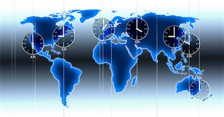 Computer artwork of a world map illustration with indicated time zones, clocks at locations and time differences of Los Angeles, New York, London, Moscow, Beijing, Tokyo and Sydney. Stock Photo - Premium Royalty-Free, Code: 679-08173285