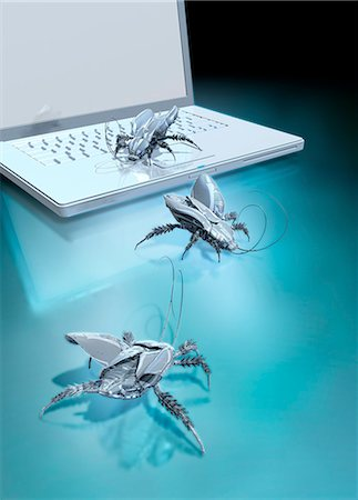 Robotic bugs and a laptop, computer illustration. Stock Photo - Premium Royalty-Free, Code: 679-08221137
