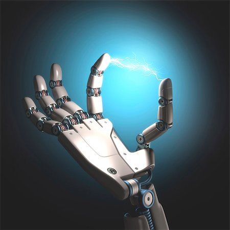 sparks illustration - Robot hand with electric connection, computer illustration. Stock Photo - Premium Royalty-Free, Code: 679-08221207
