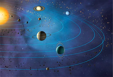 Artwork of the solar system, showing the paths of the eight major planets as they orbit the Sun. The four inner planets are, from inner to outer, Mercury, Venus, Earth and Mars. The four outer planets are, inner to outer, Jupiter, Saturn, Uranus and Neptune. Pluto is also shown, beyond Neptune. Stock Photo - Premium Royalty-Free, Code: 679-08426064