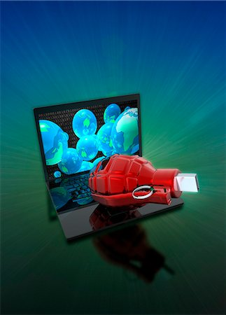 Laptop with grenade and usb device, illustration. Stock Photo - Premium Royalty-Free, Code: 679-08518411