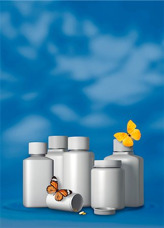 Generic pill bottles and butterflies, illustration. Stock Photo - Premium Royalty-Free, Code: 679-08828117