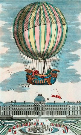 First manned hydrogen balloon flight. Jacques Alexandre Cesar Charles (1746-1823) and Marie-Noel Robert, French balloonists, making the first manned hydrogen balloon flight. They rode in the balloon 'La Charliere' on 1 December 1783, ascending above the Tuileries Gardens, Paris, France. Stock Photo - Premium Royalty-Free, Code: 679-02684270