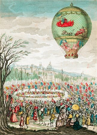 Early hot air balloon flight. This balloon, 'Le Flesselles', ascended over Lyon, France, on 1 January 1784, carrying seven passengers, which included the French balloonists Joseph Montgolfier (1740-1810) and Jean-Francois Pilatre de Rozier (1754-1785). Stock Photo - Premium Royalty-Free, Code: 679-02684271