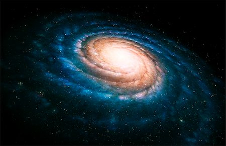 spiral - Spiral galaxy. Artwork of a spiral galaxy seen at an oblique angle. The spiral arms (blue) contain hot, young stars. The yellow central core contains a dense population of older stars. Stock Photo - Premium Royalty-Free, Code: 679-02684307