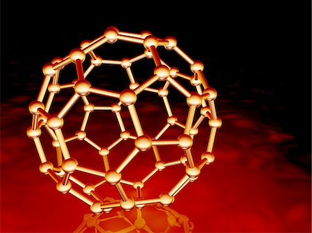 element - Buckminsterfullerene molecule. Molecular model of a fullerene molecule, a structurally distinct form (allotrope) of carbon. It has 60 carbon atoms arranged in a spherical structure consisting of interlinking hexagonal and pentagonal rings. Stock Photo - Premium Royalty-Free, Code: 679-02685156